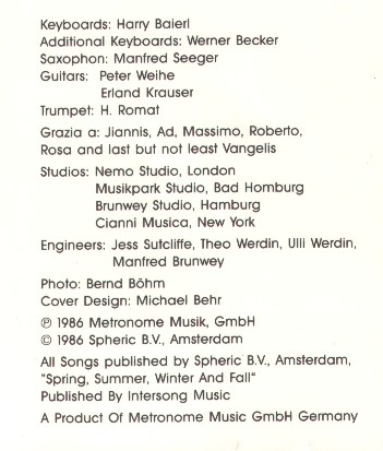 Credits on the Metronome CD